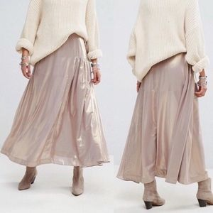 NWT Free People Catch The Wind Metallic Skirt